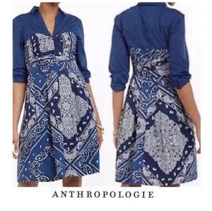Anthropologie Holding Horses Blue Bandana Dress